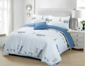 Lighthouse Bedding Set Beachcomber Cotton Duvet Quilt Cover Nautical Boat Ship