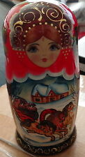 """FAIRY TALES Troyka   Hand painted  RUSSIAN NESTING DOLL DOLLS 5 PCS  7.0""""  #2s"""