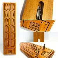 "Vintage Cribbage Board  Whitman - Wood w/ 7 Metal Pegs - Approx. 12"" 040"