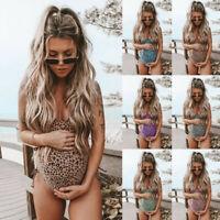 Women Maternity Leopard Print Bikini Swimwear Swimsuit Bathing Suit Beachwear US