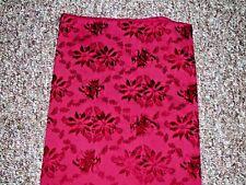 CHRISTMAS TABLE CLOTH BELLS & POINSETTIAS  BURGUNDY 100 X 55 INCHES