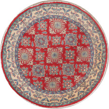 Super Kazak Oriental Area Rug RED 5 ft ROUND Geometric Hand-Knotted Carpet WOOL