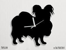 Papillon Dog Silhouette - Wall Clock