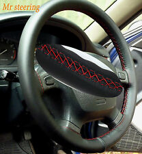 FITS NISSAN SKYLINE R33 93-98 REAL BLACK LEATHER STEERING WHEEL COVER RED STITCH