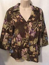 Jamaica Bay Blouse Top Sz M Brown Multi Floral Cotton Blend New 170104