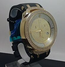 New Men's Gold Face Joe Rodeo Watch With 242 Diamonds With Resin Band