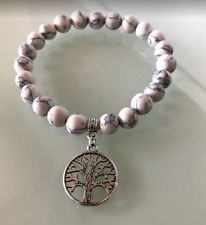 UK Beautiful White Howlite Silver Tree of Life Crystal Gemstone Bead Bracelet