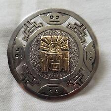 Vintage 18K Sterling silver Peru Brooch Pendant very nice condition