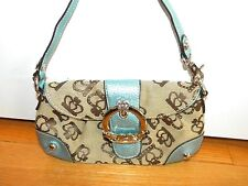 Kathy Van Zeeland Mini Handbag Clutch Wristlet Crown Blue ~ XLNT!