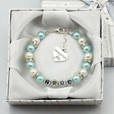 name Personalised Girl baby Birthday Gift Charm Bracelet sister With Box  blue