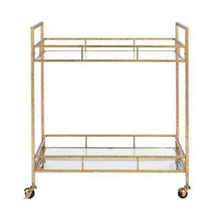 Rolling Bar Cart 2-Tier Metal Glass Top Rectangle Open Storage Indoor Gold Leaf