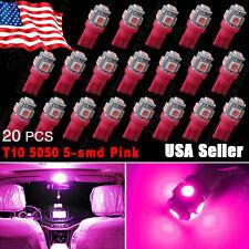20X Purple/Pink T10 5-SMD 5050 LED INTERIOR Light bulbs W5W 2825 158 192 194 168