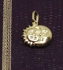 Religious 14K Yellow Happy Moon Sun 3D Small Charm Pandent Box Chain 20 inch