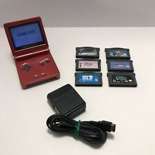 Authentic Nintendo Game Boy Advance SP  - Flame Red - 6 Games, OEM Charger