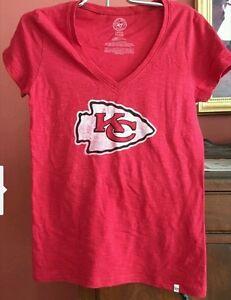 Kansas City Chiefs 47 Brand Women's v-neck t-shirt NWT Size Medium
