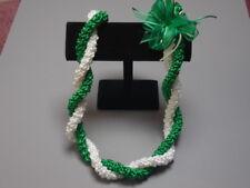 Hawaiian Rattail Ribbon Lei Graduation Green White