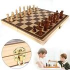 Fashion Wooden Pieces Chess Set Folding Board Box Wood Hand Carved Gift Toy 1T1T