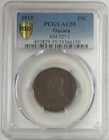1915 Mexico 10 Cent Copper TM Revolutionary Oaxaca Coin PCGS AU55