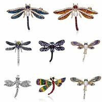 Fashion Dragonfly Animal Crystal Pearl Brooch Pin Women Costume Jewelry Gift New