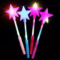 BG_ Fashion LED Flashing Glow Stick Wand Five-pointed Star Fairy Wand Kids Toy C