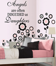 """Angels are often disguised as Daughters Wall Decal 13""""x14"""" Girl's Bedroom Vinyl"""