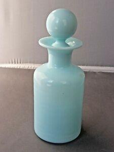 Perfume Bottle/Vanity Jar-Blue Opaline-Portieux Vallerysthal Glass-Vtg-France