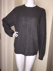 Davis & Squire Sweater 100% Cashmere Sweater Mens Large 2 Ply Grey Crew