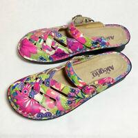 Alegria Pink Floral Leather Slide Wedge Adjustable Shoes EU 39, US 8.5