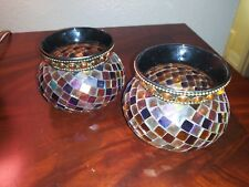 New ListingSet of 2 Partylite Global Fushion Mosaic Votive Holders Brown Gold