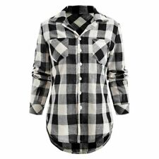 Women's Flannel Plaid Shirt Soft Material Relaxed Button-front Collar Neck Tops