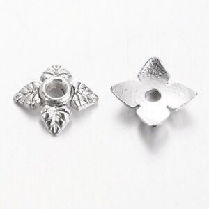 100 Stück Perlenkappen 6x6mm Kappen Perlen Platin Farbe (K-1099)