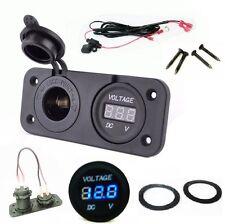 "12V Solar Battery Plug Socket + Voltmeter Panel Status Monitor Marine 60"" Wires"