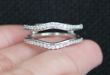 New 10K Sz7 Chevron Double Row 1/3ct Diamond Solitaire Enhancer Ring Guard Wrap