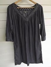 Sussan Women's Grey-Black Denim-Look Dress/Tunic - Size 8