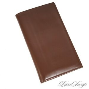 Anonymous Vintage Chestnut Brown Leather Glazed Travel Document Wallet NR WOW