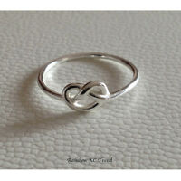 925 Sterling Silver Classic Infinity Knot Ring Thin Rounded Band E-Coated