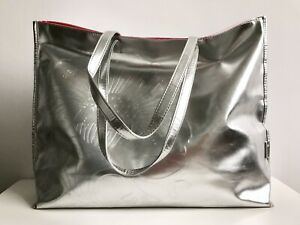 Clinique Large Silver Shopper Beach Bag Bright Pink Lining
