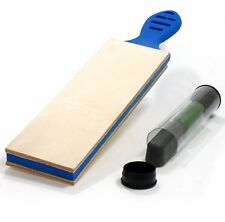 Leather Strop Handcrafted In The USA - Large 2.5 Inch Wide with Compound - Blue