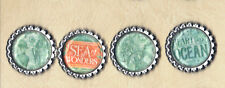 Graphic45 VOYAGE BENEATH THE SEA #407 (4) Silver Flat Bottle Cap Accents