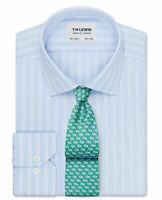 T.M.Lewin   Slim Fit Blue Fine Stripe Dual Cuff Shirt