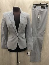 "Nine West PANT SUIT/SEER SUCKER COTTON/SIZE 8/INSEAM 31""/BLAZER LINED/"