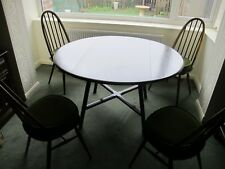 Ercol Round Drop Leaf Dining Table and 4 chairs