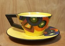 Vtg MRAZEK Yellow POTTERY TEA CUP w/ SAUCER ~ ART DECO Bauhaus GEOMETRIC ~ RARE