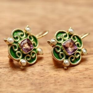 Mary Queen of Scots Earrings - Green : Museum of Jewelry