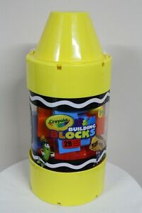 "Crayola 25 Pcs Building Blocks Kids At Work 14"" Giant Yellow Crayon Tube"