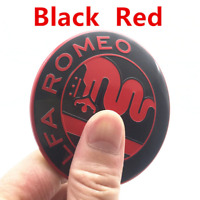 2x74mm Nero Rosso Alfa Romeo Davanti Cappuccio Cofano Emblemi Badge Loghi