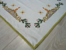 Vintage Christmas Hand embroidered Xmas Tablecloth Table runner with candles
