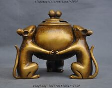 """7"""" Marked Chinese pure bronze peanut Mouse Mice rat Statue Incense burner Censer"""