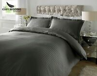 Steel Grey 100% Cotton Luxury Bedding Set 300 Thread count Sateen Stripe