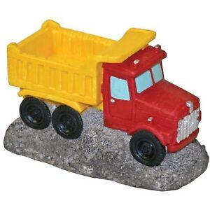Blue Ribbon Pet Vehicle Red Dump Construction Truck Aquarium Ornament Aquatic